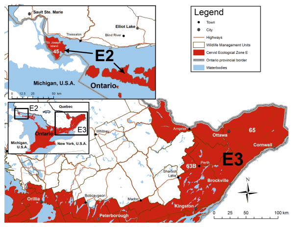 map of cervid ecological zone overview